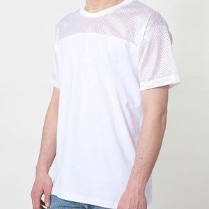 American Apparel Mesh & Solid White Jersey T-Shirt